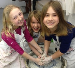 Using the pottery wheelis notalways serious business!